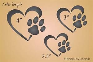 Pet Stencil Heart Paw Print Dog Track Love Animals Kennel