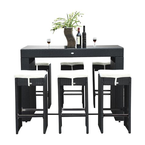 7 piece pub table set outsunny 7 piece outdoor rattan wicker bar pub table