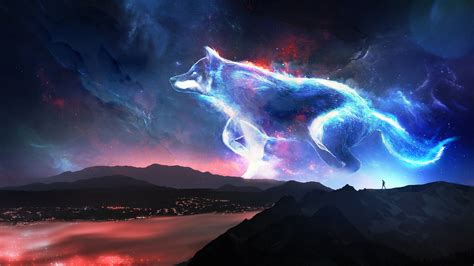 Get this gorgeous galaxy wolf live wallpaper right now for totally free! Download 2048x1152 wallpaper wolf, mountains, fantasy, sky, art, dual wide, widescreen ...
