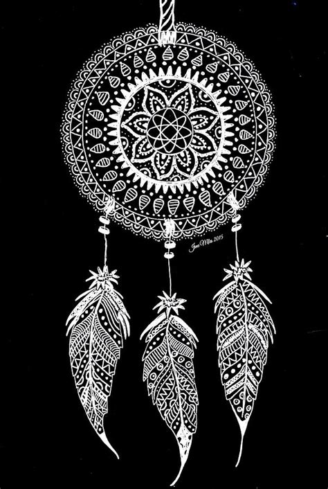 Dreamcatcher white on black Drawing by Jane Miles