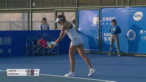 Professional tennis player from poland. WTA w Shenzhen, 1. runda: M. Linette - J. Cepelova (mecz ...