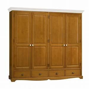 Armoire Lingere Pas Cher : armoire penderie 4 portes pin miel dessus blanc beaux meubles pas chers ~ Teatrodelosmanantiales.com Idées de Décoration