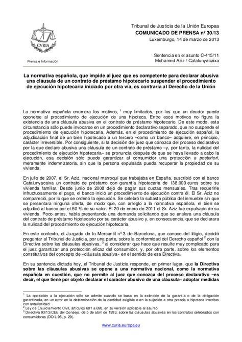 nota de prensa tribunal europeo sobe sentencia hipotecas