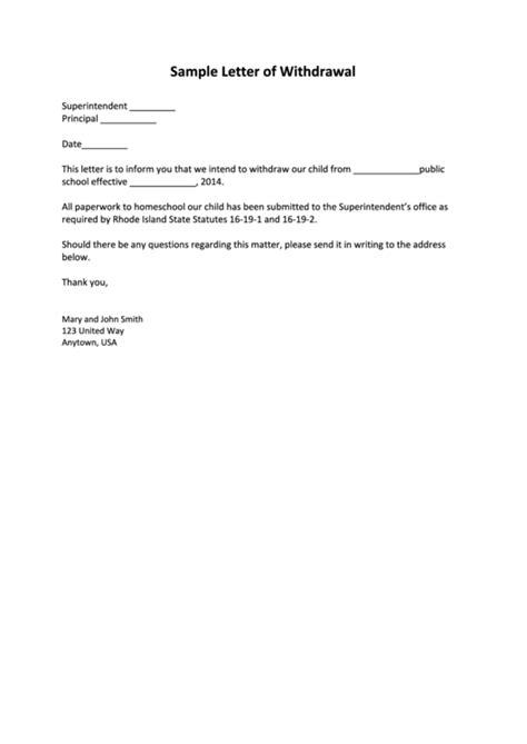 sample school withdrawal letter template printable