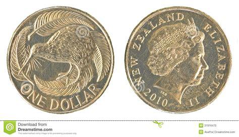 One New Zealand Dollar Coin Stock Photo