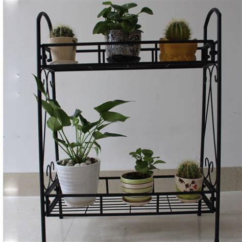 2 tier metal shelves indoor plant stand display flower