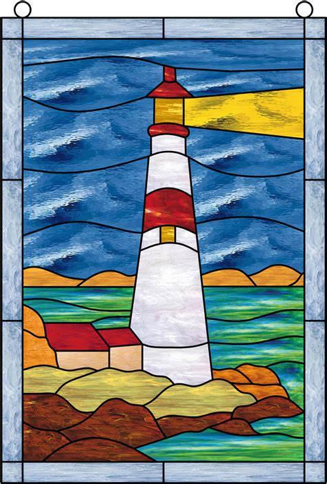 stained glass lighthouse l window film stained glass lighthouse sky water