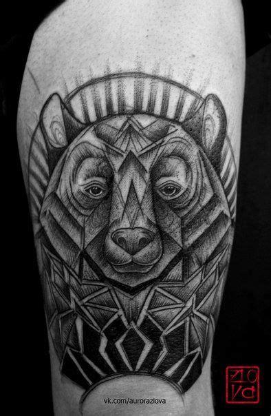 bear face tattoo sketch illustration blackwork geometry