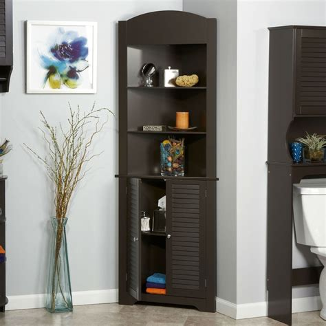 espresso bathroom linen tower corner towel storage cabinet