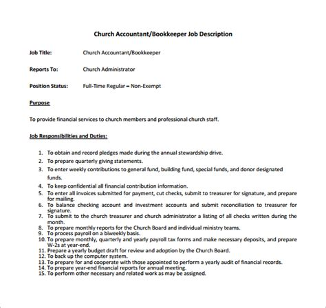 Charge Bookkeeper Description Sle by 10 Bookkeeper Description Templates Free Sle