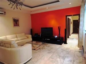 stunning peinture salon moderne orange photos amazing With couleur moderne pour salon