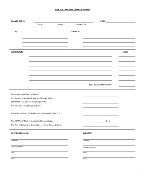 sample change order form  examples  word