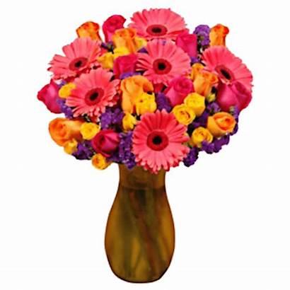 Vase Arrangement Purple Flower Yellow Pink Orange