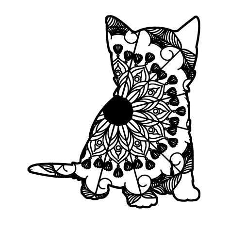 Sometimes, the animal occupies the entire central portion, or is used as repeating units. Kitten Mandala Animal Svg T-Shirt Designs | Tshirt designs ...