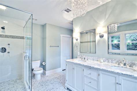 Spa-like Master Bath With Glass Chandelier And Pedestal