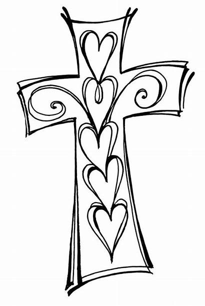 Cross Clipart Christian Bible Heart Drawing Coloring