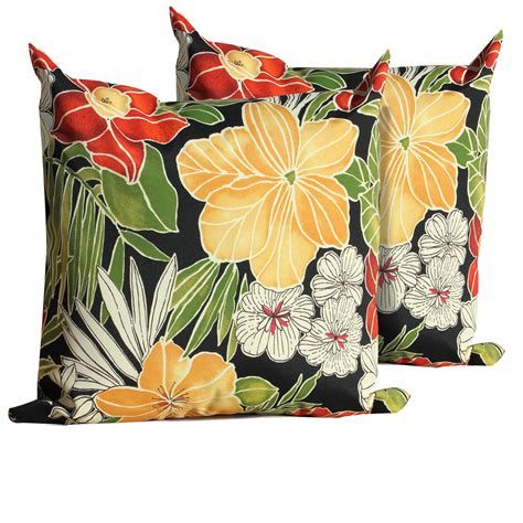 black floral outdoor throw pillows square set of 2