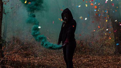 Download Wallpaper 1920x1080 Silhouette Gas Mask Smoke