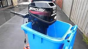 Mercury 15hp Outboard Motor Flushing In Wheelie Bin