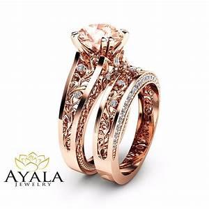 14k rose gold morganite engagement ring set unique 2 carat for Rose wedding ring set
