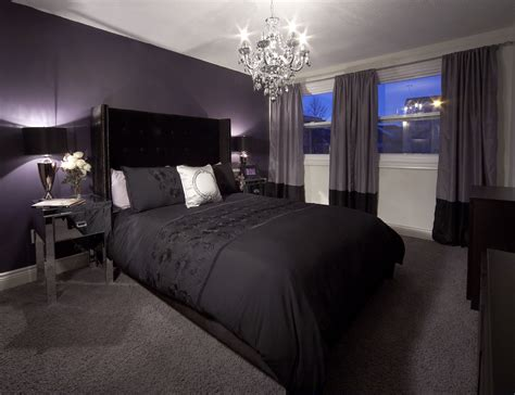 Bedroom Feature Walls by Bedroom With Purple Feature Wall And Drapery