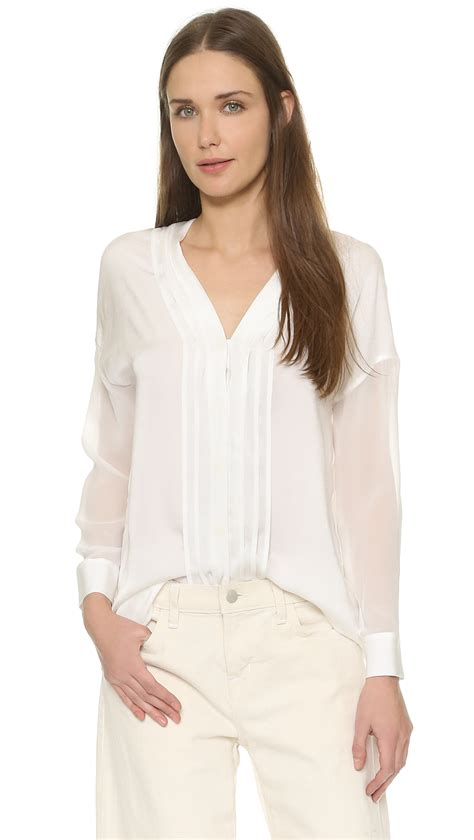 sheer white blouse vince sheer sleeve pintuck blouse in white lyst