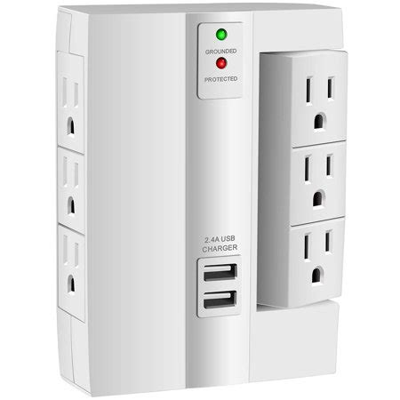 surge protector wall power mount strip protection usb tap socket outlets ports portable charging smart plus strips pack office kasonic