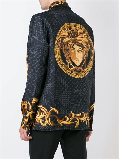 versace silk baroque print shirt  black  men lyst