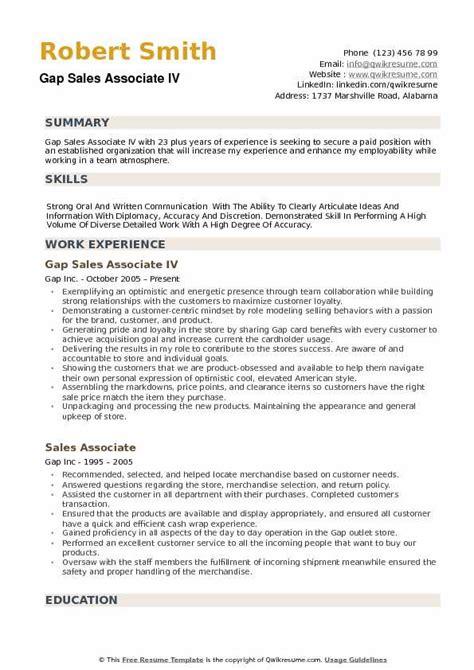 gap sales associate resume sles qwikresume