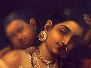 Painting Yashoda and Krishna Raja Ravi Varma Indian ...