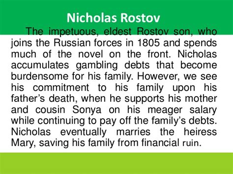 peace war characters rostov stout matron natasha