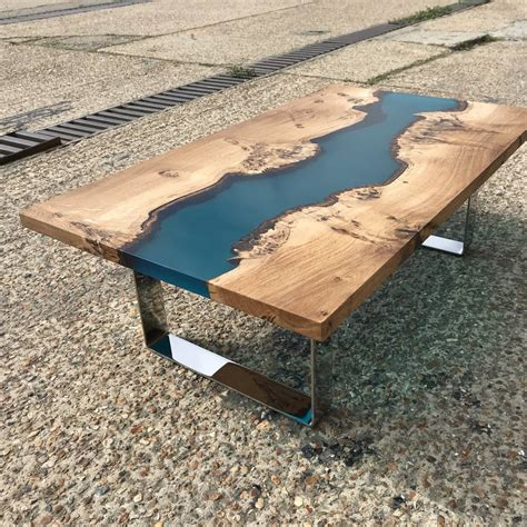 If you're thinking of making your own epoxy resin river table, you can learn a thing or two from my mistakes. resin river coffee table with chrome legs by revive joinery   notonthehighstreet.com