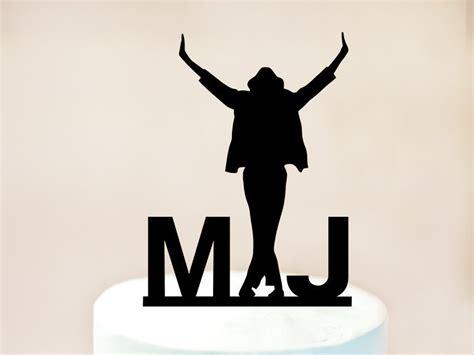 michael jackson  initials acrylic cake topper
