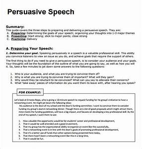 Persuasive Speech Template Writing Persuasive Essays For High School