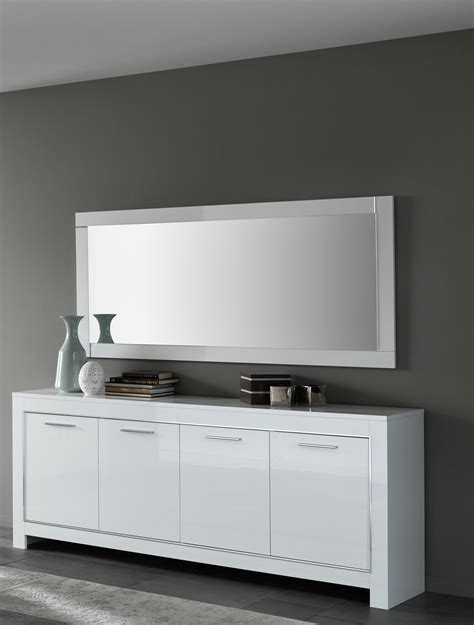 High Gloss Sideboard by Magdelaine Italian White High Gloss Lacquered Sideboard 208cm