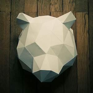 Trophée Animaux Origami : trophee design origami ours blanc ~ Teatrodelosmanantiales.com Idées de Décoration