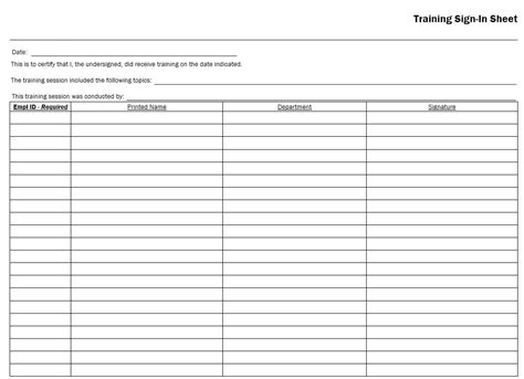 Training Completion Sign Off Sheet Template by Training Sign In Sheet Employee Training Sign In Sheet