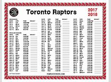Printable 20172018 Toronto Raptors Schedule