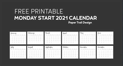 printable  calendar monday start paper trail