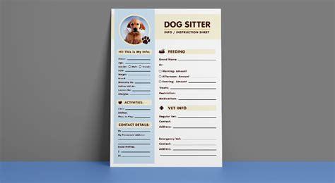 dog sitter instruction information sheet design