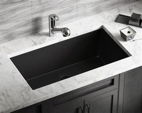bowl kitchen sink undermount 848 black large single bowl undermount trugranite kitchen sink 8593