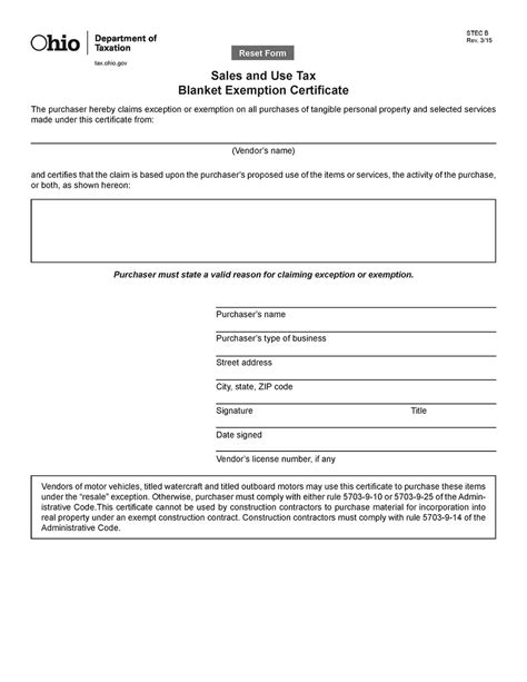 ohio sales tax exemption certificate google analytics