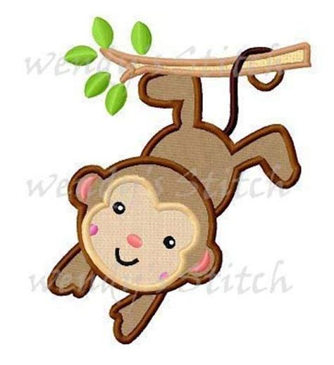 Monkey Applique by Monkey Applique Machine Embroidery Design Digital Pattern