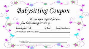 Printable baby sitting voucher perfect for my nieces and for Babysitting gift certificate template free