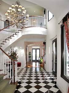 Elegant, Foyer, With, White, Staircase, And, Checkerboard, Floor