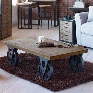 large industrial wooden iron coffee table with black With industrial wood coffee table with wheels