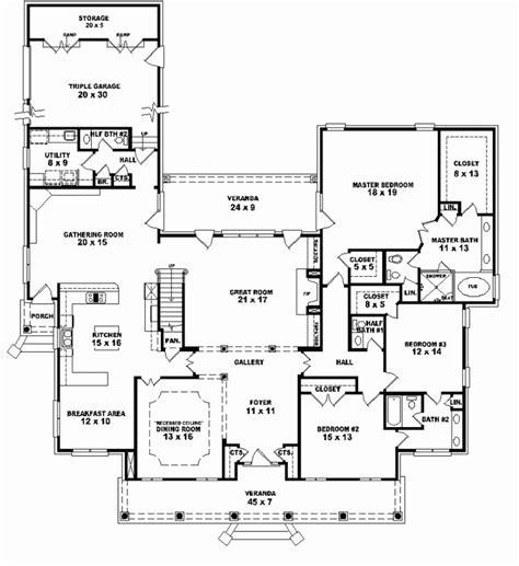 27595 5 bedroom floor plans single story five bedroom house plans