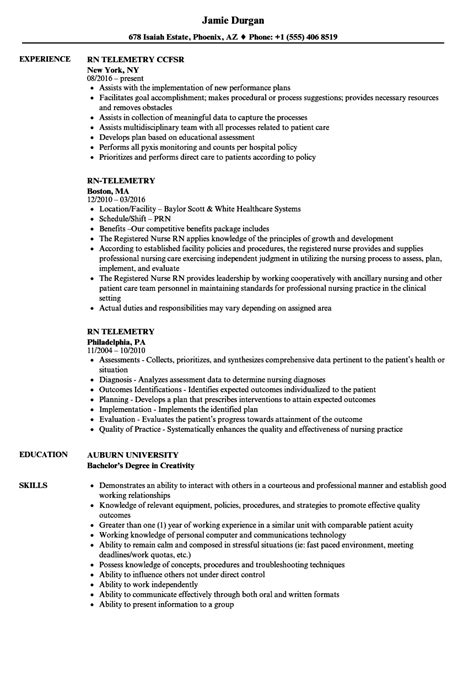 Telemetry Nursing Resume by Nursing Resume Telemetry Unit Resume Exles Resume