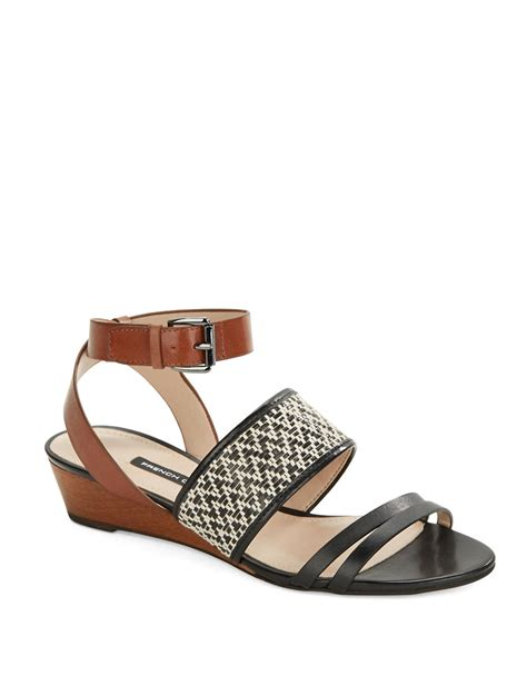 Wedges Connexion Ycw79 connection wiley leather wedge sandals in black lyst