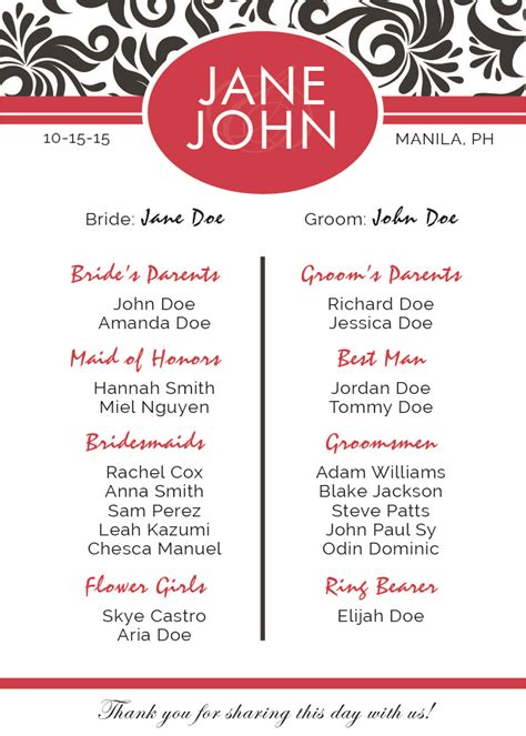 Program Templates by Wedding Programs Templates Free Downloadable Wedding